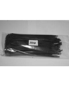 4.8mm x 300mm Black Nylon Cable Ties (pack of 100)